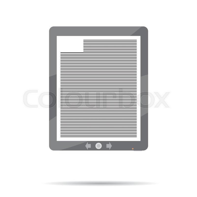 Ebook Icon Flat Book Ereader Ebook Stock Vector