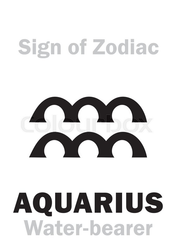 Astrology Alphabet Sign Of Zodiac Aquarius The Water Bearer