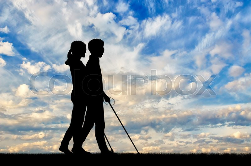 Blind People With Disabilities With Cane Walking On Street
