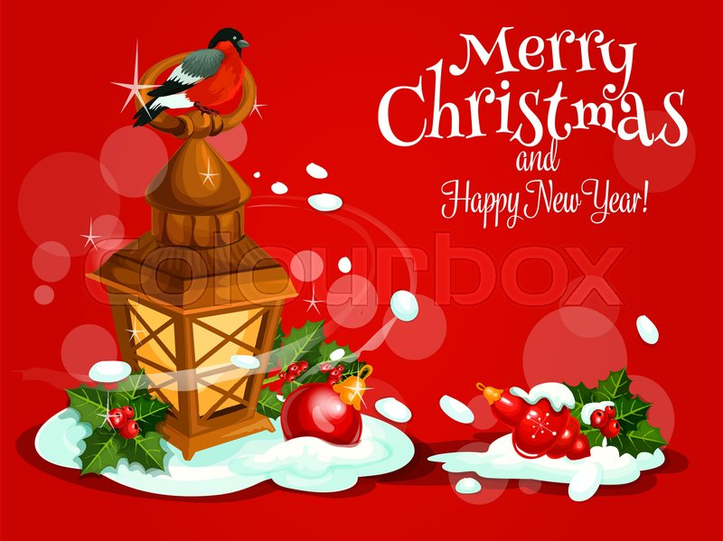 Christmas Day and winter holidays greeting card. Xmas candle lantern ...