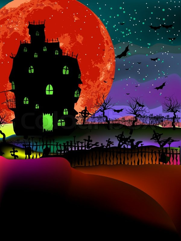 Do It Yourself Home Design: Grungy Halloween Background With Haunted House, Bats And