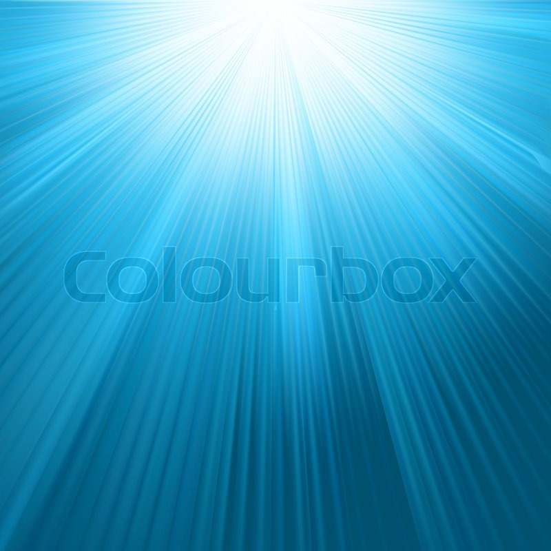 Sun rays on blue sky template | Stock Vector | Colourbox