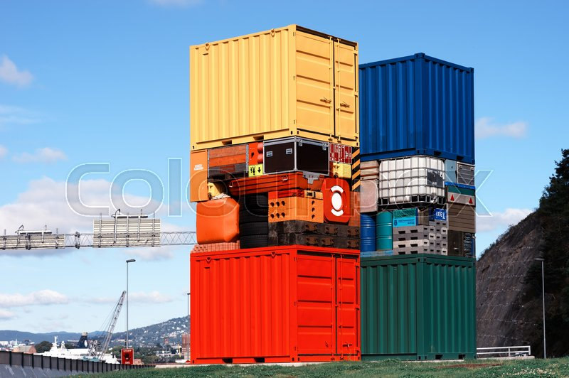Norway colorful transport crates background hd, stock photo