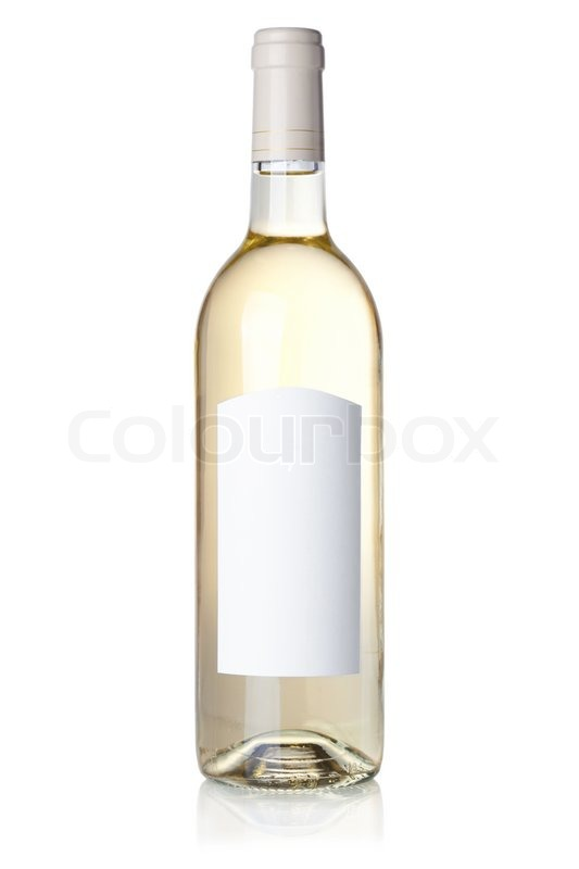 Wine collection - White wine in bottle with blank label Isolated on ...