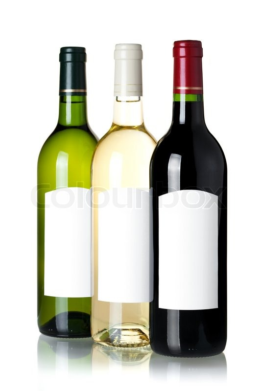 Wine collection - Three wine bottles with blank label ...