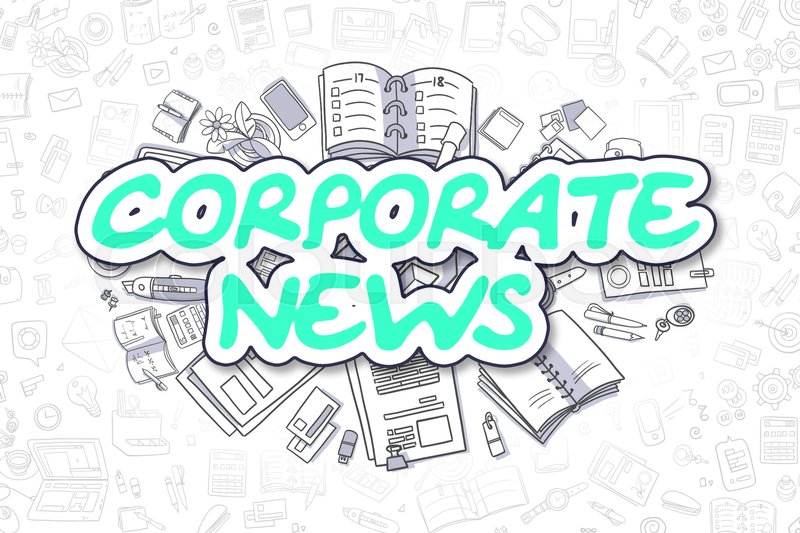 Corporate News - Hand Drawn Business Illustration with Business Doodles. Green Inscription - Corporate News - Cartoon Business Concept. , stock photo