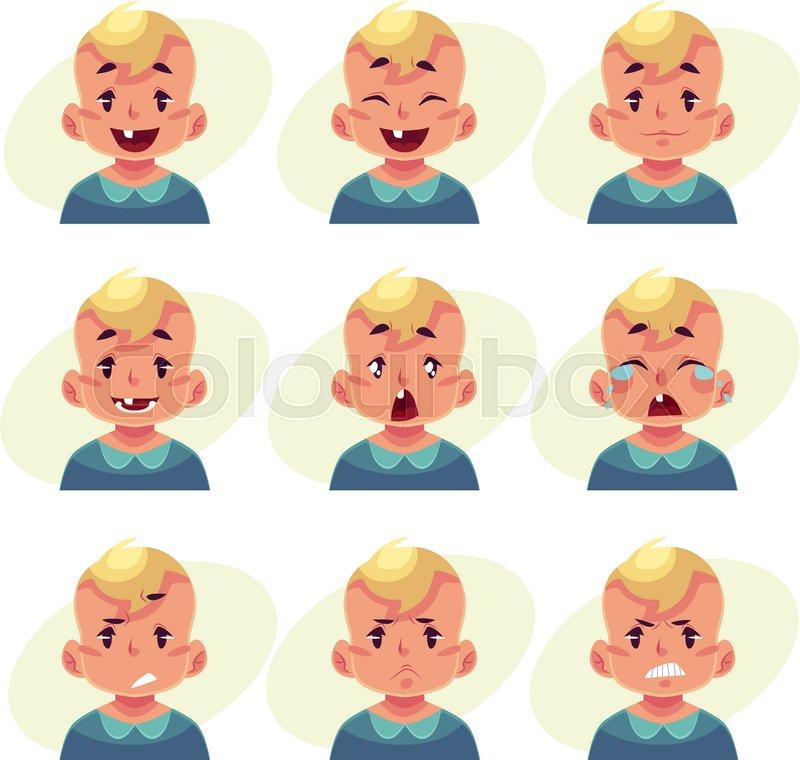 little boy face expression set of cartoon vector illustrations