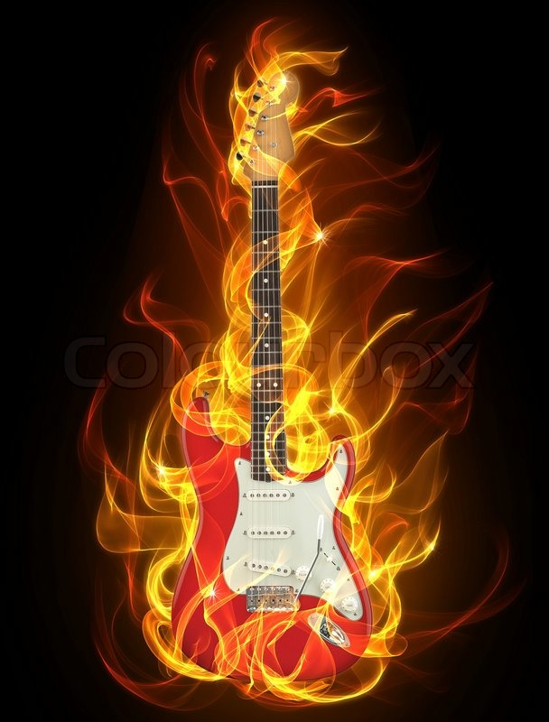 Electric guitar in fire and flames | Stock Photo | Colourbox