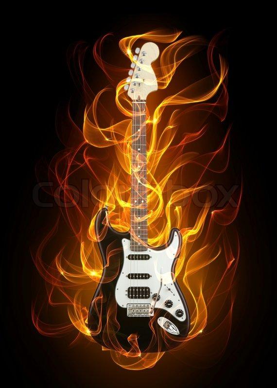 e gitarre in feuer und flammen stockfoto colourbox. Black Bedroom Furniture Sets. Home Design Ideas