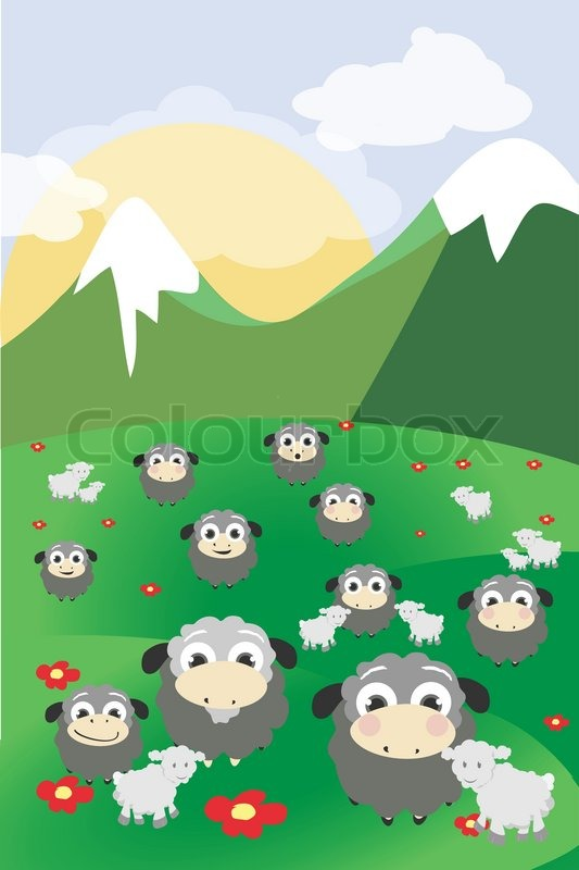 Stock vector of 'Beautiful mountain background with sheep'