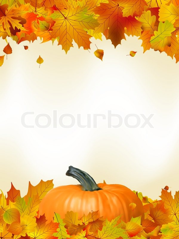 Colorful Autumn Card Template Leaves With Pumpkin And Copy