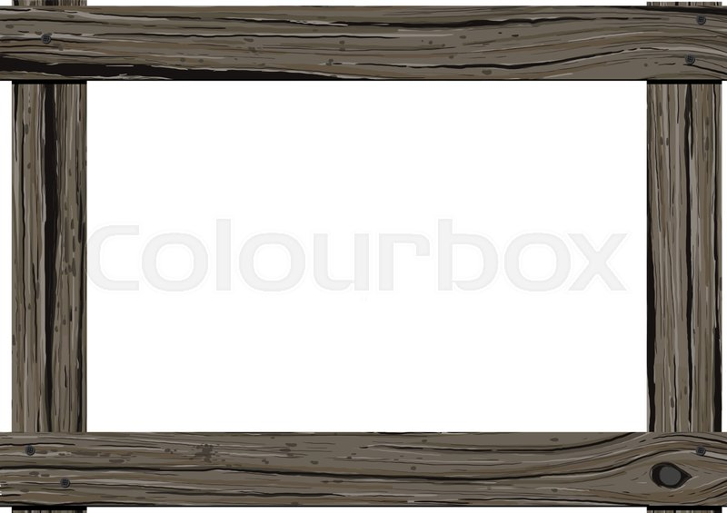 Old dark wood horizontal frame with empty space for text on white ...
