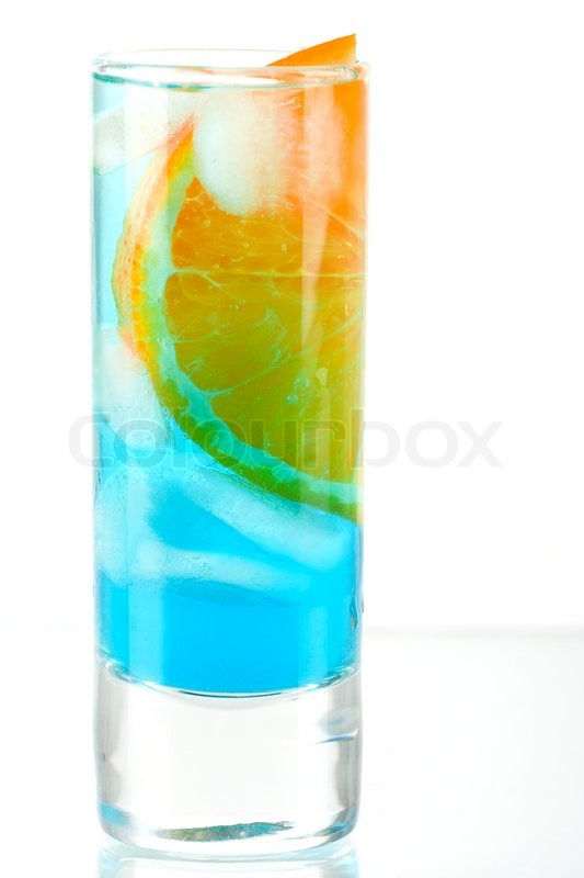 Alcohol cocktail with blue curacao and orange isolated on for Orange and blue cocktails