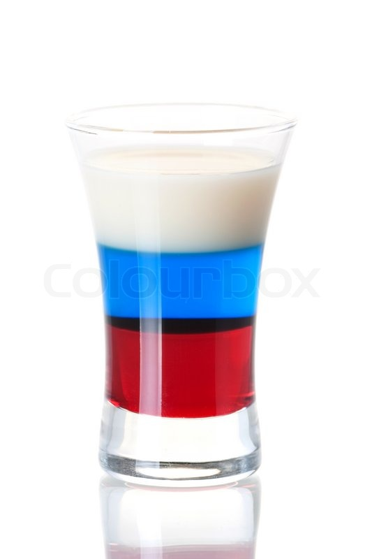 Shot cocktail collection: Russian Flag alcohol cocktail isolated on ...