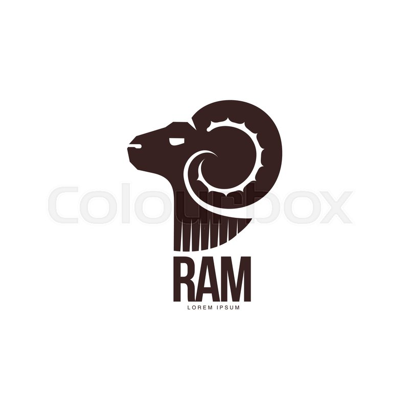 Ram, sheep, lamb head silhouette graphic logo template, vector ...