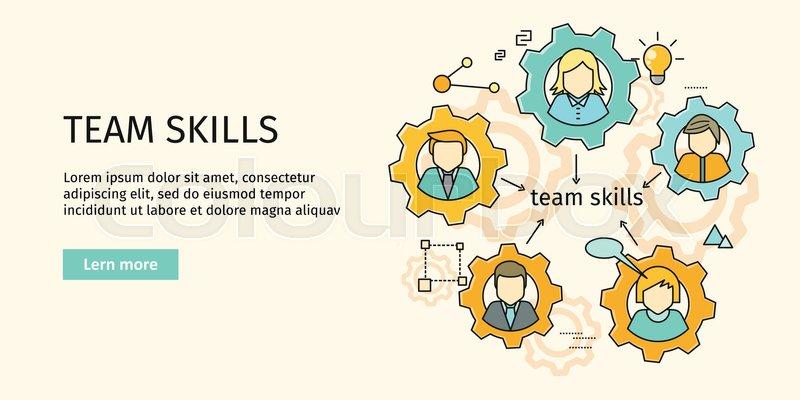 Team skills banner. Avatar in gear. Team building, workshop ...