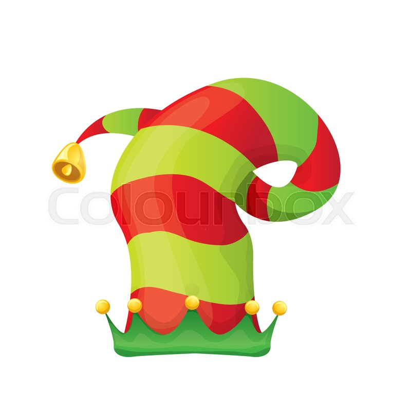red and green stripped cartoon christmas vector elf hat isolated on