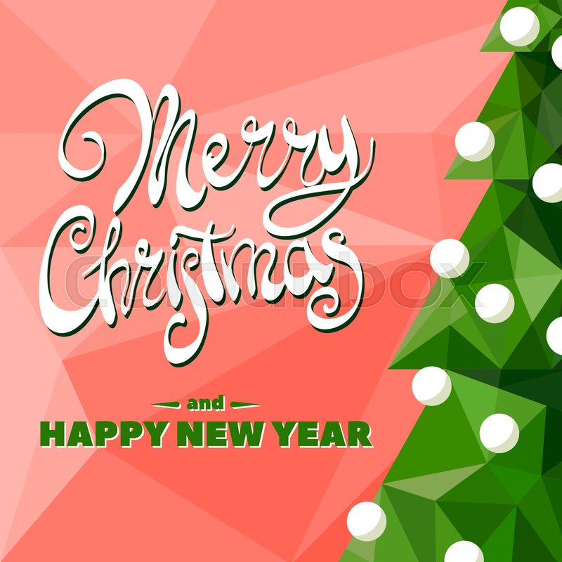 Christmas tree with garland on red background with the words Merry ...