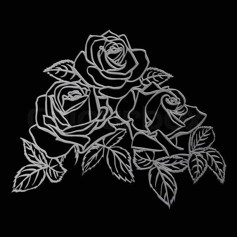 Rose Sketch Silver Outline On Black Background Vector Illustration
