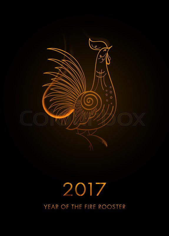 Fire Rooster Symbol Of New Year 2017 Vector Rooster Silhouette Of