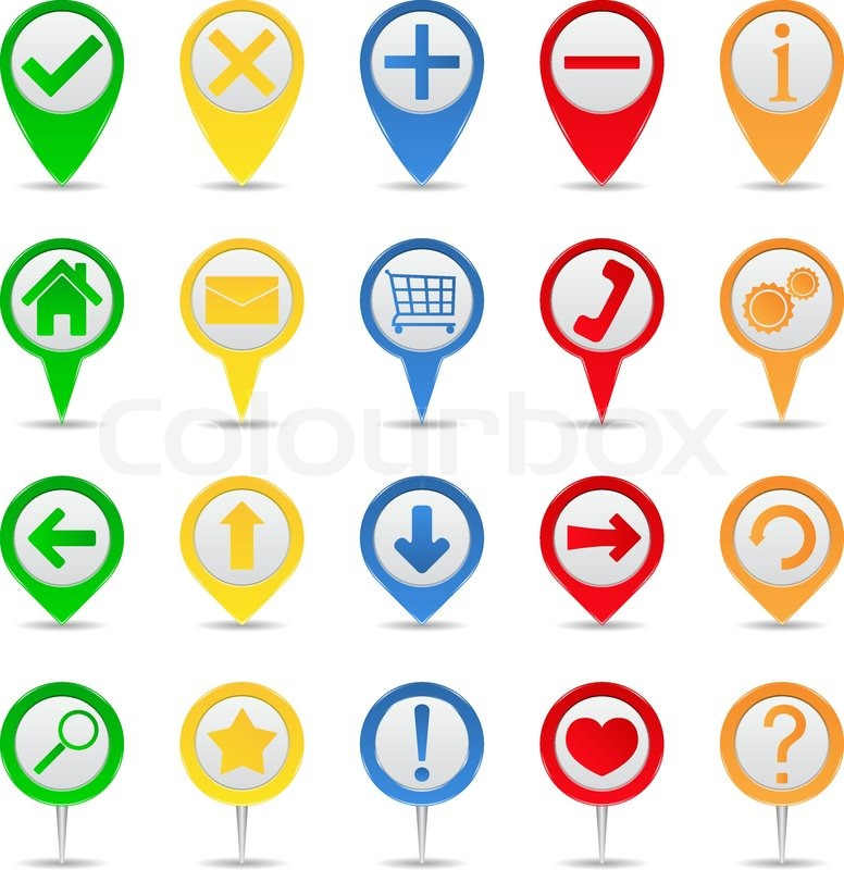 Map markers with icons on white background stock vector colourbox publicscrutiny Choice Image