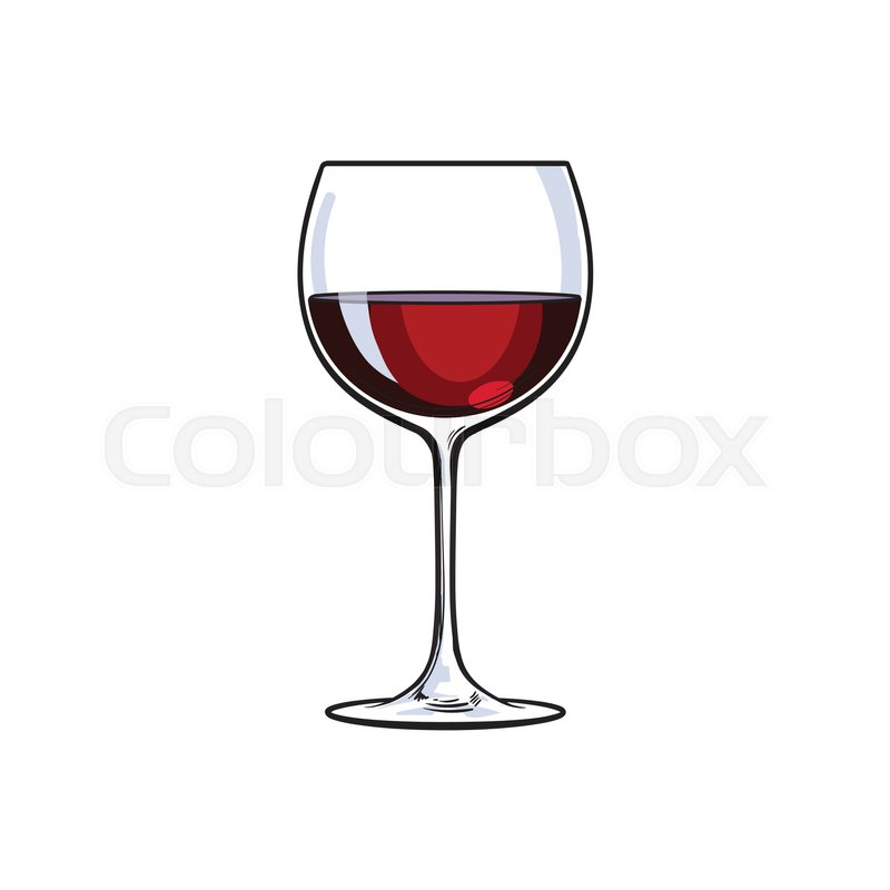 Red wine glass sketch style vector illustration isolated for How to draw on wine glasses