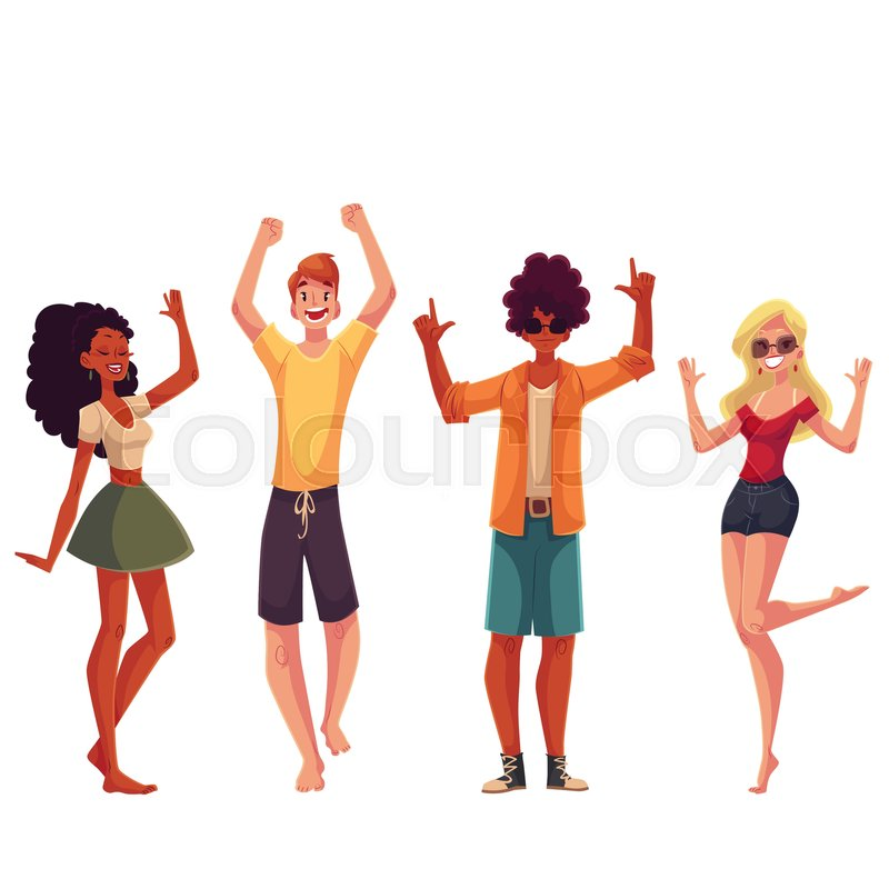 young people dancing on the beach cartoon style vector rh colourbox com Cartoon People Dancing Hip Hop Cartoon Old People Dancing
