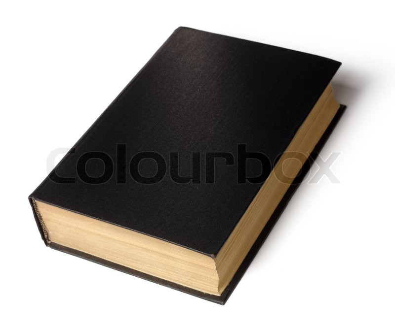 Old Black Book Cover ~ Single old hard cover black book isolated over white