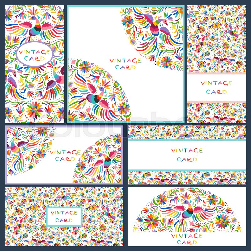 Vector set of artistic creative business cards with Floral Mexican ...