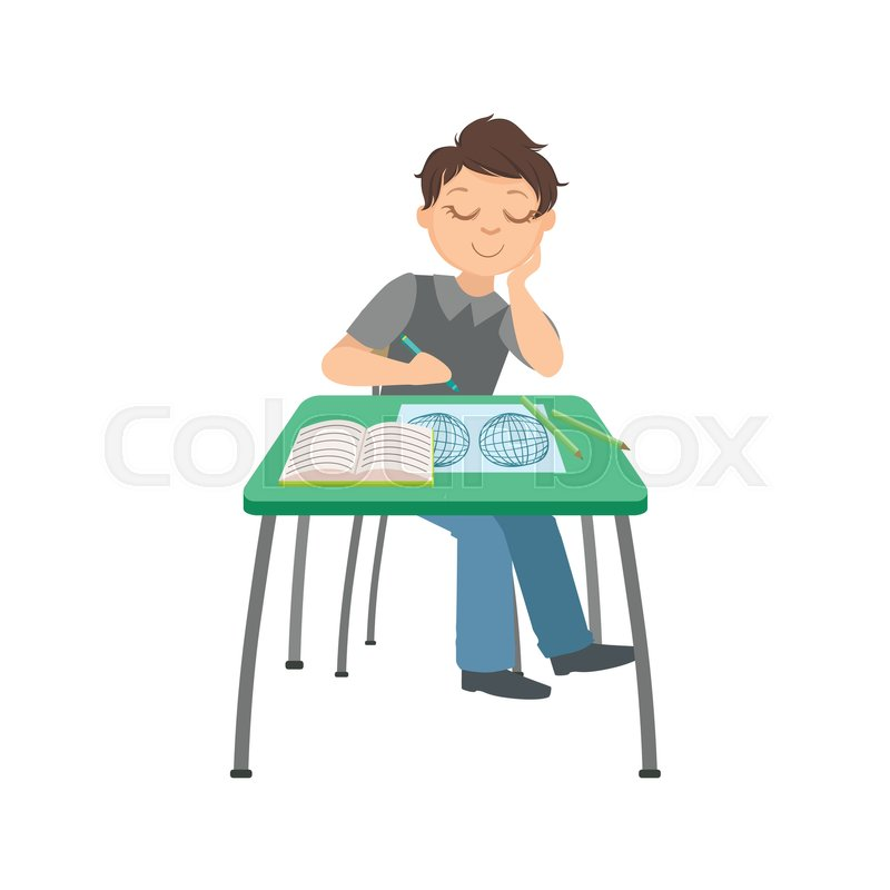 schoolboy sitting behind the desk in school class drawing