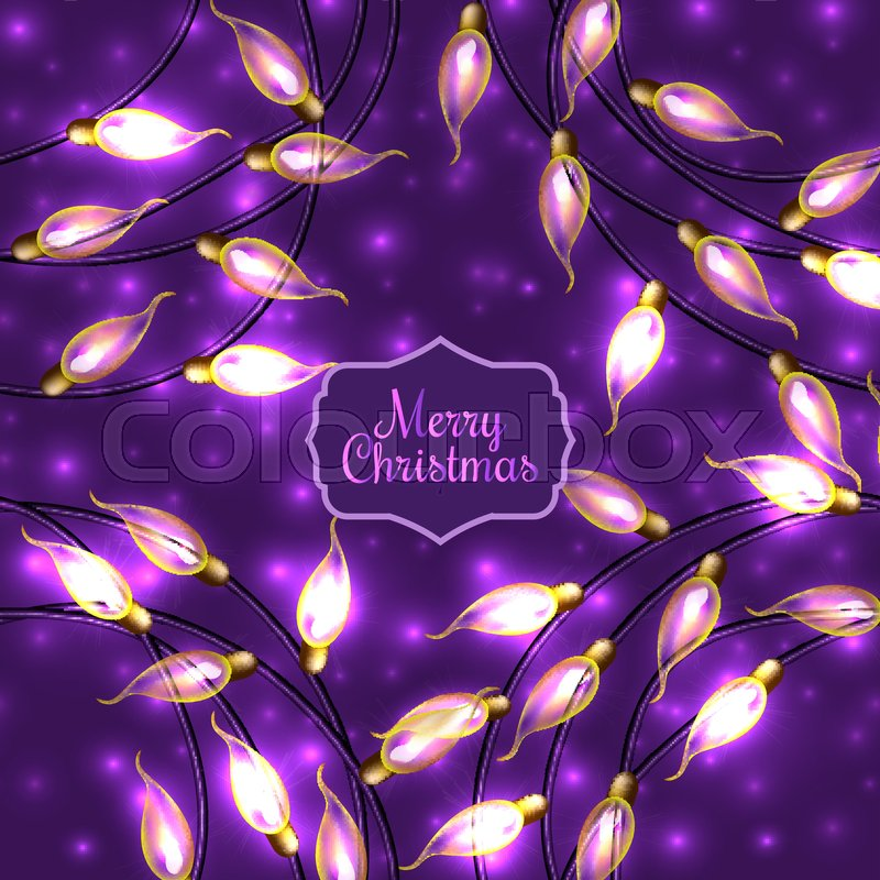 colorful glowing christmas lights on violet backgroundvector elements can be used as backdrop for new year decoration or in card design