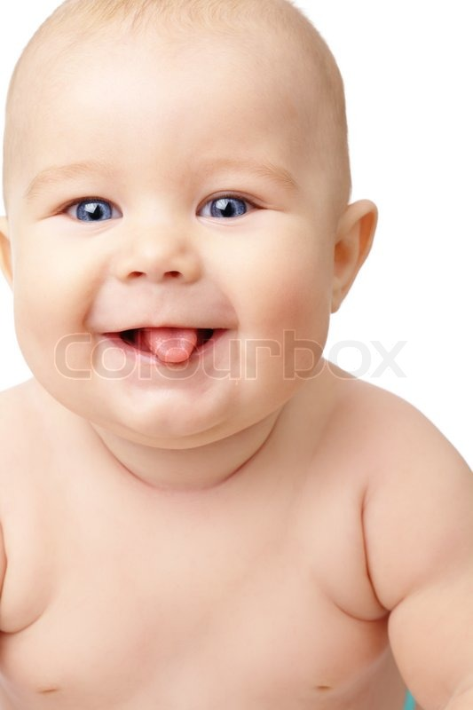 Happy toddler smiling, sticking his tongue out, isolated ... - photo#20