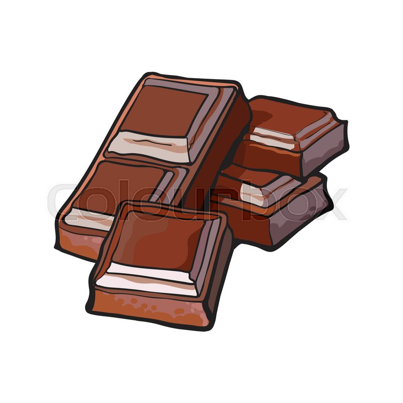 Pieces Of Dark Chocolate Bar Sketch Style Vector Illustration Isolated On White Background ...