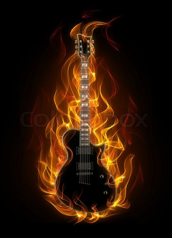 electric guitar art wallpaper fire - photo #28