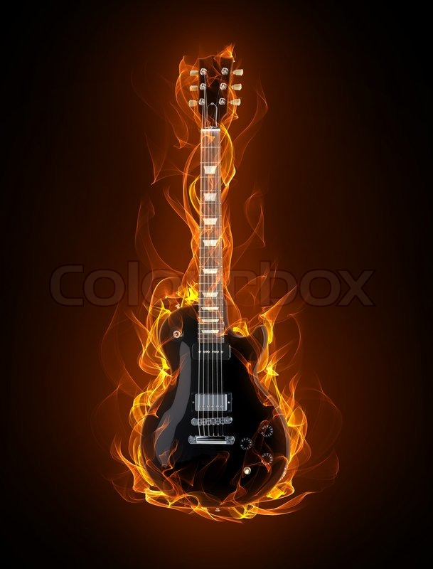 guitar acoustic fire flame - photo #13