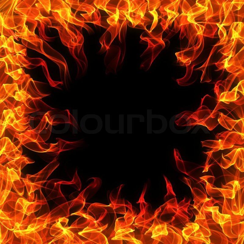 feuer und flamme rahmen auf schwarzem hintergrund stock foto colourbox. Black Bedroom Furniture Sets. Home Design Ideas