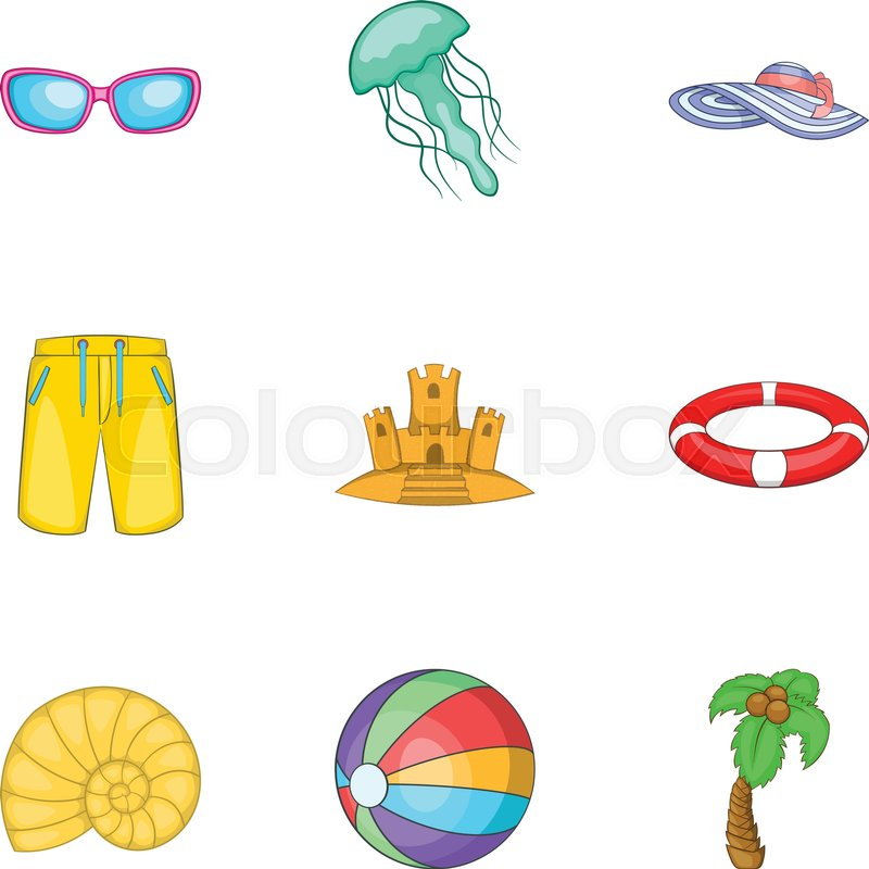 Relax On Beach Icons Set Cartoon Illustration Of 9 Relax On Beach