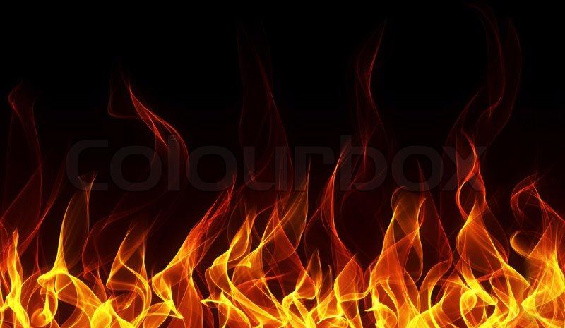 Nahtlose Feuer und Flamme Grenze auf dem schwarzen ...