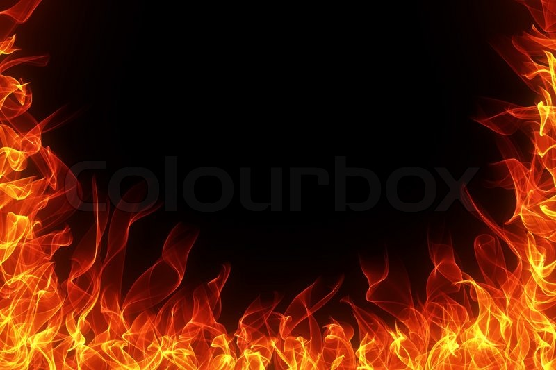 Fire and flame frame on black background | Stock Photo | Colourbox