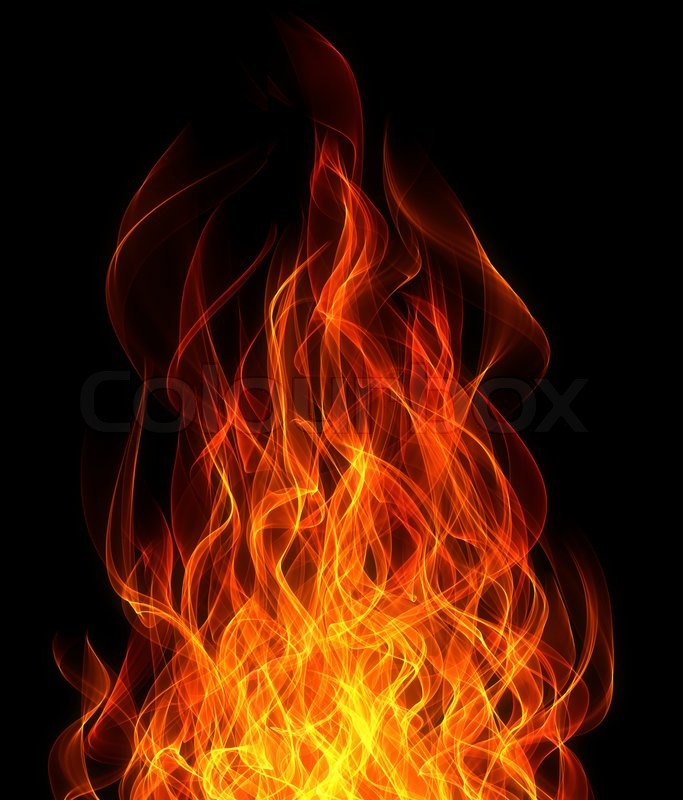 Stock image of 'Fire and flame on the black background'