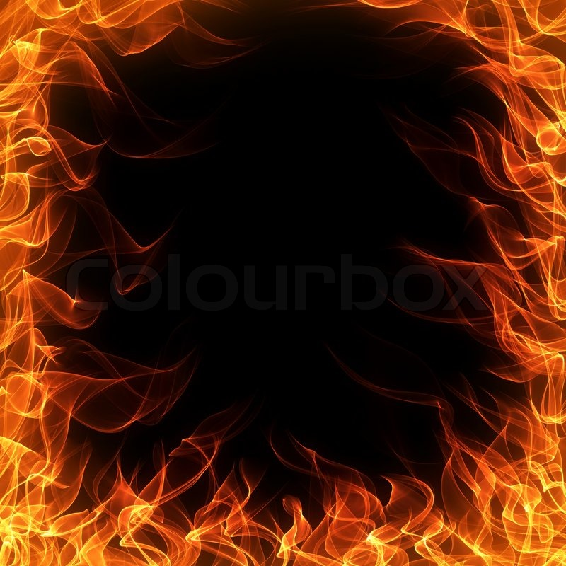 Fire And Flame Frame On Black Background Stock Photo
