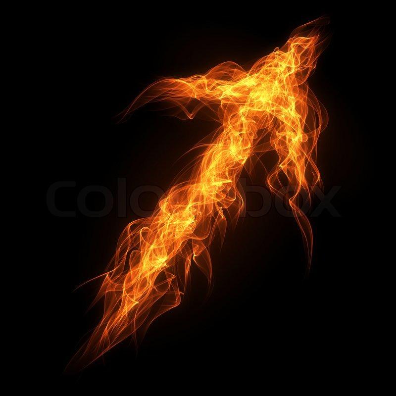Burning Fire Arrow On The Black Background Stock Photo