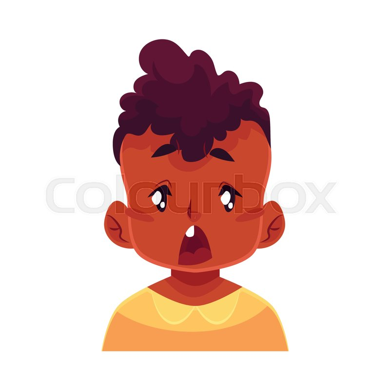 little boy face, surprised facial expression, cartoon vector