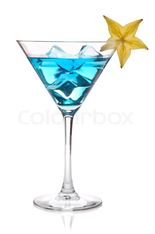 Blue cocktail  Blue cocktail with carambola in martini glass. Isolated on white ...