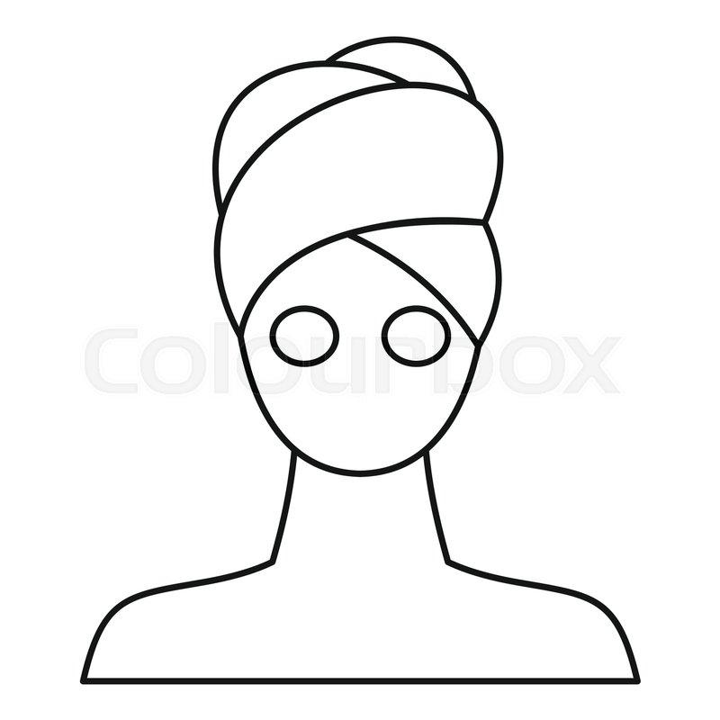 Spa Facial Clay Mask Icon Outline Stock Vector Colourbox