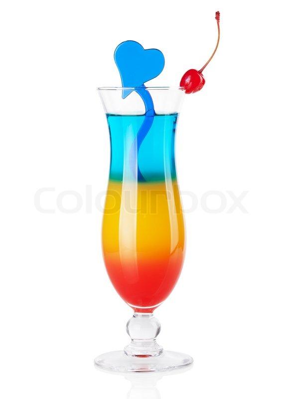 Cocktail Samling Tre Lag Tropisk Cocktail Med Bl Hjerte