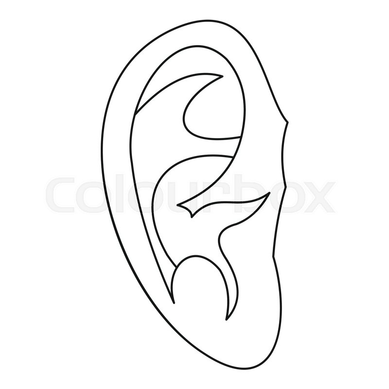 ear icon outline illustration of ear vector icon for web stock