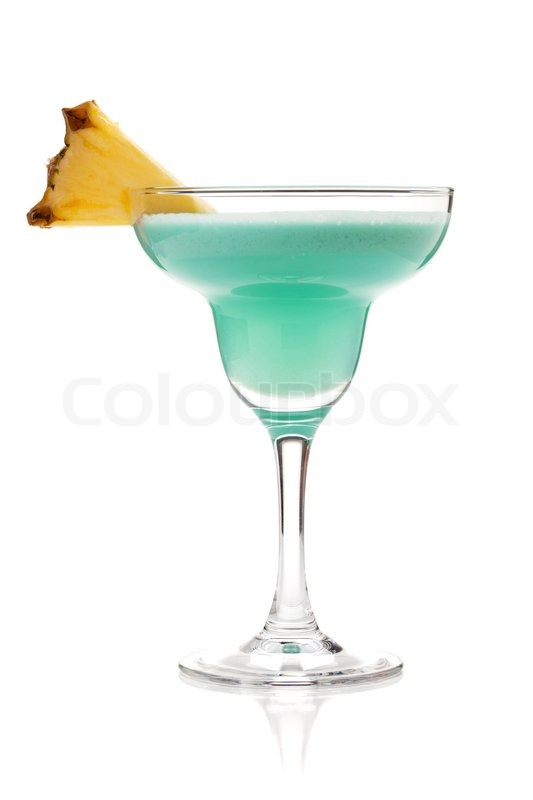 Blue Tropical Cocktail In Margarita Glass Isolated On