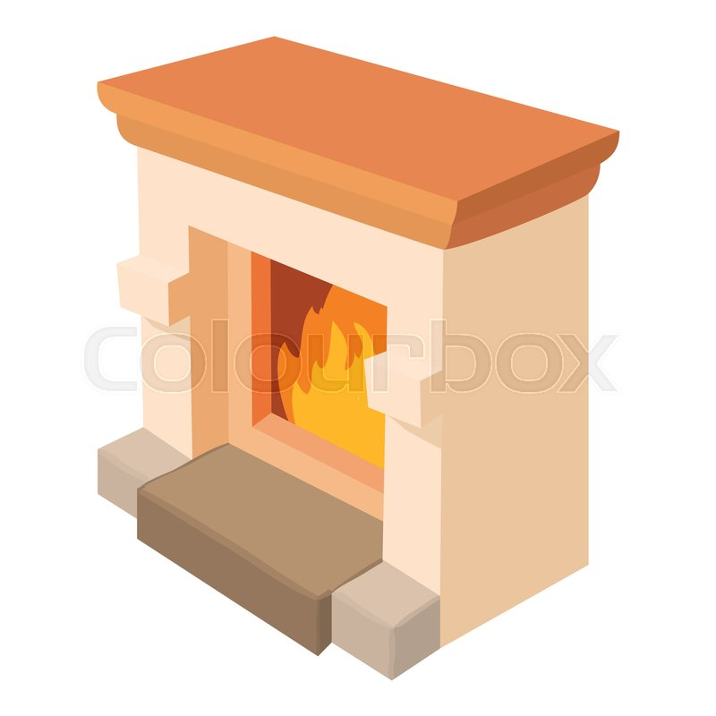 Fireplace Icon Cartoon Illustration Stock Vector Colourbox