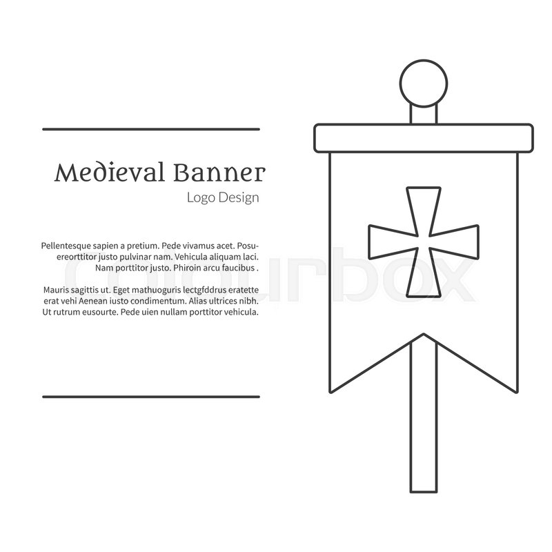 medieval banner knight flag single logo in modern thin line style